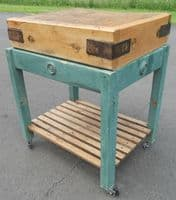 Wooden Butchers Block on Stand
